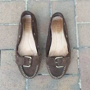 J.Crew Brown Suede Driving Loafers with Buckle